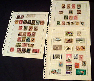 62 Thailand Stamps On Album Pages, Good Selection Of Older Issues & Sets.