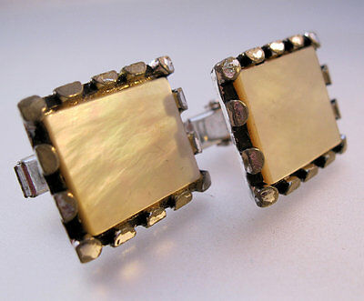Vintage Mother of Pearl Signet Cuff Links Silver Tone