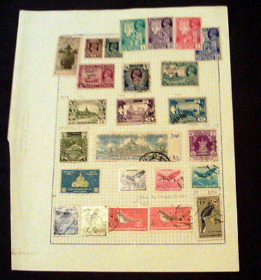25 Burma Stamps On Album Page, Good Selection Of Mint & Used Issues & Sets.