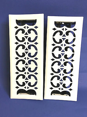 """New Pair / 2 Vintage White Floor Wall Metal Heat Vent Grate w. Louvers 13"""" x  5"""""""