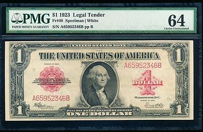 AC Fr 40 1923 $1 Legal Tender red seal  PMG 64 comment uncirculated