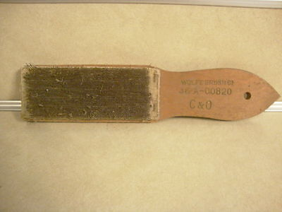 Vintage Train Collectible Tool C & O Railroad File Card Hard Wire Brush Wood Hnd