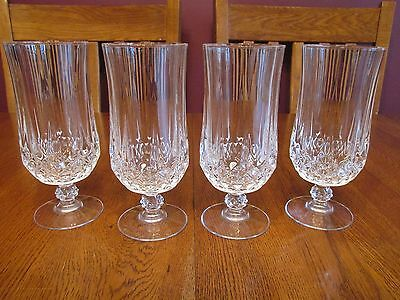 Four Gorgeous Cristal D'Arques Longchamp Crystal Footed Iced Tea Glasses