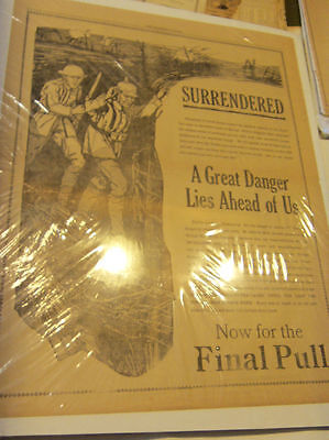 1918 Mansfield News VICTORY ISSUE poster 4 pages