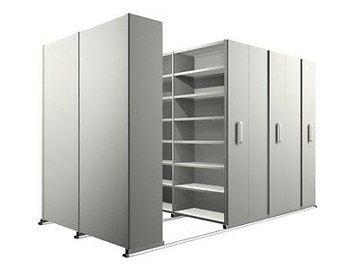 Used - 8 bay Compactus Style Mobile Storage System.