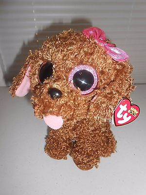 "TY Brown puppy dog plush stuffed MADDIE curly fur tounge out big eyes 9"" sparkle"