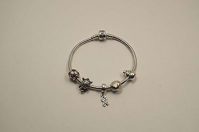 Authentic Pandora Sterling Silver Bracelet W/ 5 Charms (Ale)  30.5 Gr  A576