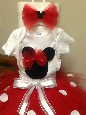 Baby Girl Red Dot Minnie Mouse outfit tutu 3pcs Set You Choose the Size (0-3T)