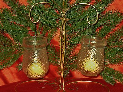 Antique Pair Christmas Clear Glass Candle Fairy Lamps/lanterns Quilted Pattern