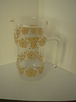 Vintage Pyrex  Pitcher  Golden Butterfly  7 Inches Tall