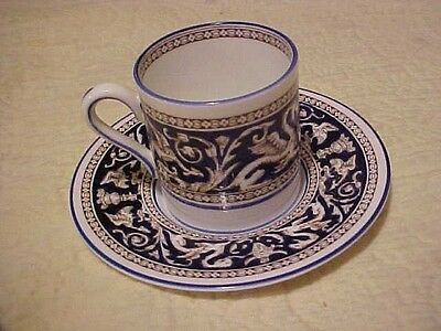 Wedgwood Florentine Cup And Saucer, Navy With Dragon Design W1956
