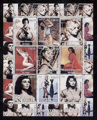 Female Movies Stars, Nude On Congo (Zaire) 2001 Sheet Of 9, Mnh