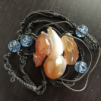 Fine Old Chinese Carved Carnelian Agate Pendant Peking Glass Art Necklace NR