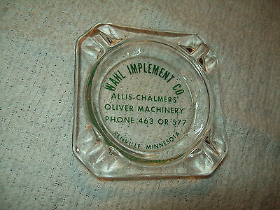 Renville Minnesota Oliver Allis Chalmers Tractor Glass Ashtray Wahl Implement Co