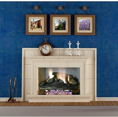 24 in. Vent-Free Natural Gas Fireplace Logs w/Remote Control ODS Heat 1,300sq.ft