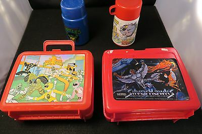 4 vintage lunch boxes, thermoses - 1986, 1994, power rangers, Silverhawks, TMNT