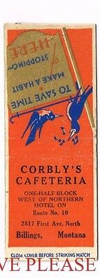 1930s Corbly's Cafeteria Route 10 Billings Montana Matchcover