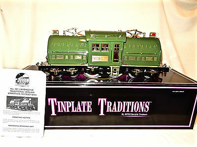 Mth Tinplate Traditions #381E Two Tone State Green Standard Gauge Elec Loco-Nice