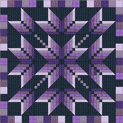 Easy Quilt Kit/Exploding Star Purples/3D/Pre-cut Fabrics Ready To Sew/QN