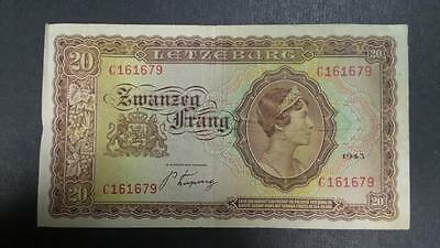 1943 Luxembourg 20 Franc banknote #C161679 *VF+*