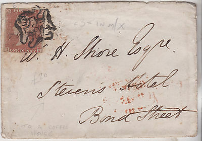 1843 QV COVER WITH 1d RED IMPERF STAMP RARITY 3 IN MALTESE CROSS TO COFFEE HOUSE