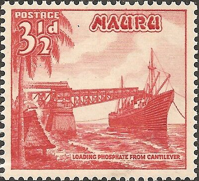 MH 1954 NAURU Stamp 3.1/2 3.5 d  British Empire Colony PHOSPHATE FROM CANTILEVER