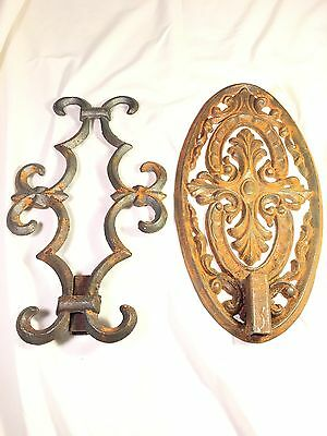 "Vintage Iron Architecture Pieces 13.5"" & 12"" Antique Gothic Edwardian Repurpose"