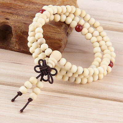 6mm White Sandalwood Tibet Buddhist 108 Wood Prayer Bead Mala Necklace/bracelet