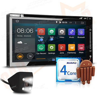 """6.95"""" Android 4.4 Quad Core Double DIN Car DVD Player Stereo GPS Sat Nav +Camera"""