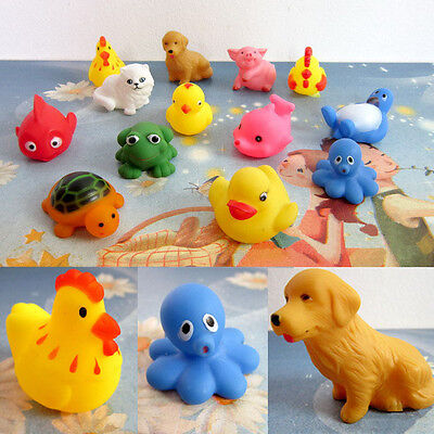 13pcs One Dozen Rubber Animals With Sound Baby Shower Party Favors Toys Gift NEW
