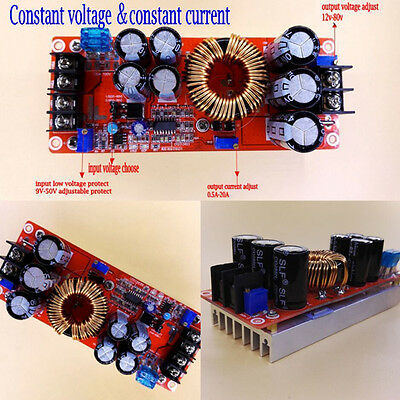 1200W 20A DC Converter Boost Step-up Power Supply Module 8-60V TO 12-83V