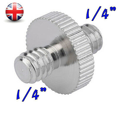 "1/4"" Inch Male to 1/4"" Inch Male Threaded Screw Adaptor for Camera Tripod UK"