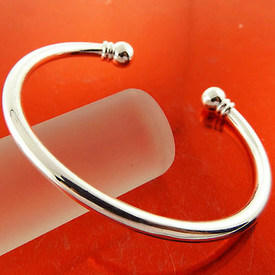 Fsa276 Genuine Real 925 Sterling Silver S/f Solid Bead Cuff Bangle Bracelet
