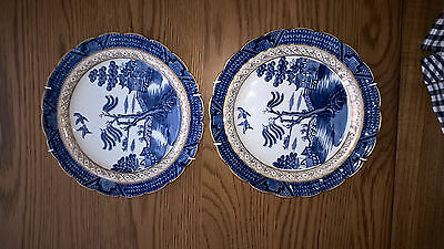 Pair Booths Willow Pattern Plates