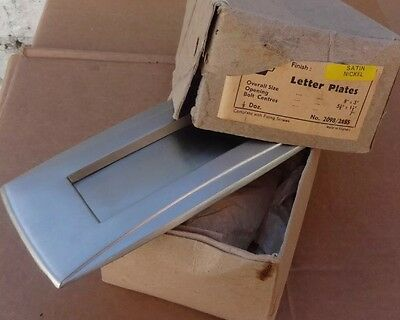 0ne vintage Art Deco satin nickel Letter Box Letter Flap - New Old Stock