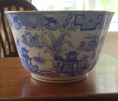 Antique china Royal Worcester baby blue Willow Pattern bowl made in 1902
