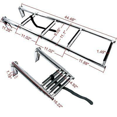 Amarine-made 4 Step Stainless Steel Telescoping Boat Ladder Swim Step Free Ship