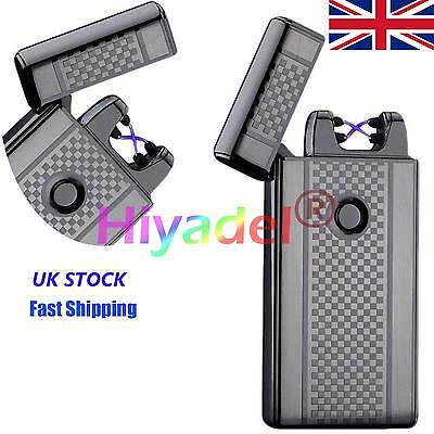 Dual Arc Electric USB Lighter Rechargeable Windproof Flameless Cigarette UK Y89D