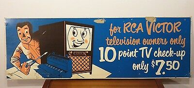 VINTAGE 4ft RCA VICTOR TELEVISION TV REPAIR ADVERTISING SIGN AD Radio Gas Oil