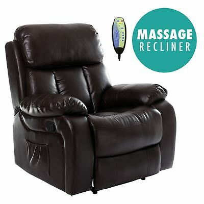Chester Brown Heated Leather Massage Recliner Chair Sofa Gaming Home Armchair