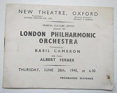 Old London Philharmonic Orchestra Programme June 28th 1945 New Theatre Oxford