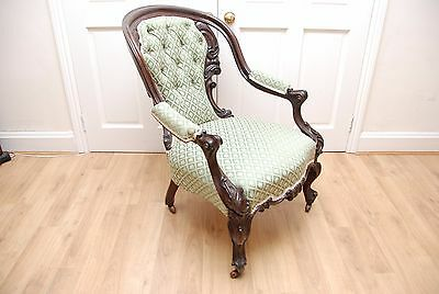 Antique Victorian Mahogany Armchair on Cabriole Legs