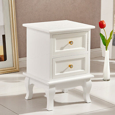 White Wood Bedside Table Wooden Cabinet With 2 Drawers Storage Unit