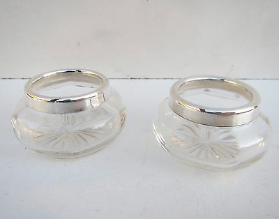 Old Solid Silver & Glass Pair of Vanity Pots - Hallmarked B'Ham 1902