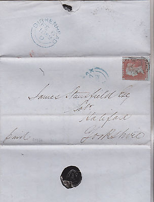 1852 QV BIRKENHEAD ESTATE LETTER WITH 1d RED IMPERF STAMP TO HALIFAX YORKSHIRE