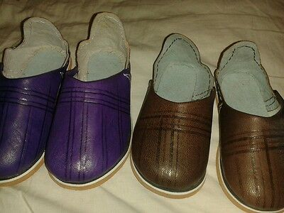 2 pairs -Purple and brown baby shoes size 22 and 23 - minor wear
