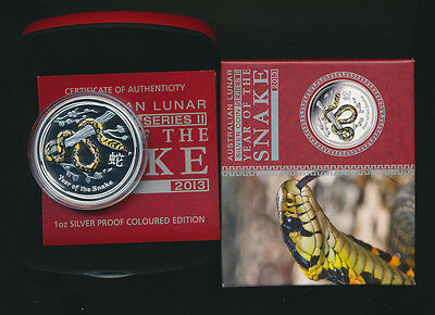 Australia: 2013 $1 Year of The Snake  Coloured 1oz Silver Proof. Issue Price $95
