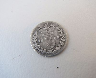 Old Victoria Threepence Silver Coin 1866