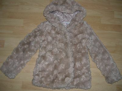 MARKS & SPENCER Girls Ivory Beige Faux Fur Party Coat Jacket Age 9-10 140cm