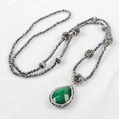 "1Pcs 30"" CZ Paved Drop Green Jade Faceted Necklace With Black Beads Chain HJA396"